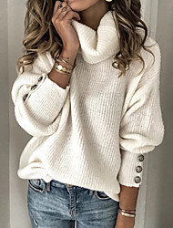 cheap -Women's Stylish Solid Color Pullover Long Sleeve Sweater Cardigans Turtleneck Spring Fall White Blue