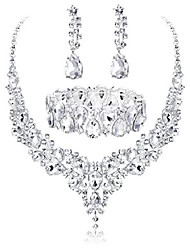 cheap -crystal bridal jewelry sets for women necklace earrings bracelet set for wedding rhinestone bridesmaid gifts fit with wedding dress