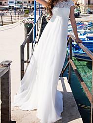 cheap -A-Line Wedding Dresses Jewel Neck Court Train Chiffon Short Sleeve Beach with Lace Insert 2021