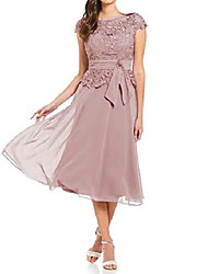 cheap -women's tea length cap sleeves mother of the bride dresses lace chiffon evening dresses dusty rose size 6