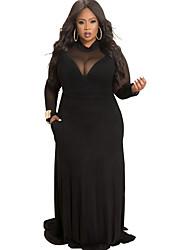 cheap -Women's Swing Dress Maxi long Dress - Long Sleeve Solid Color Lace Ruffle Mesh Summer Plus Size Elegant Sexy 2020 White Black Blue Red Yellow Wine Royal Blue L XL XXL 3XL 4XL 5XL