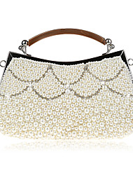 cheap -Women's Bags Synthetic Evening Bag Pearls Crystals Embellished&Embroidered Plain Party Daily 2021 Handbags Champagne