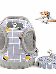 cheap -plaid cat harness and lead set escape proof reflective soft mesh chest harness for kitten small dogs puppy no pull easy on step in vest harness for chihuahua walking training outdoor gray m