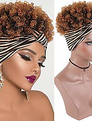 cheap -afro high puff hair bun ponytail with soft calico pattern headband head-wrap wigs for black women, afro kinky curly wig with headband attached ponytail wigs for black women(1b/30)