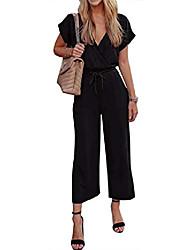 cheap -women's spaghetti strap v neck short sleeve summer elastic waist long romper jumpsuit with pockets black