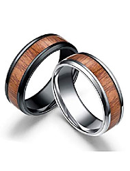 cheap -stainless steel couple rings for men women-wood color high polished smooth inner comfort fit wedding band ring silver size 7