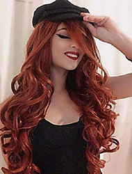cheap -long wavy wig auburn wig red synthetic fox red hair wig curly ginger wigs dark orange curly wavy hair women's heat resistant copper red hair cosplay replacement full wigs