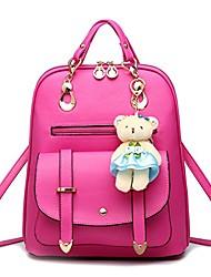 cheap -women's retro cute korean leather student bag backpack shoulder bag rose red