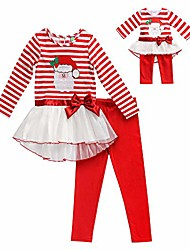 cheap -girls' apparel holiday legging set with doll outfit in, red/white, size 6x