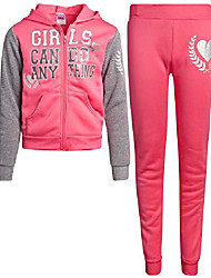 cheap -girls' jogger set - fleece zip-up hoodie sweatshirt and jogger sweatpants set, pink/girls can do anything, size 12'