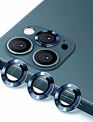 cheap -camera lens protector for iphone 12 pro 6.1 inch, premium hd tempered glass metal ring aluminum alloy lens screen cover film - blue