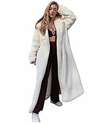 cheap -ankle length winter coats womens thickened fleece overcoat solid color full long warm robe comfy fluffy coat white