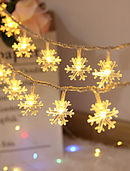 cheap -1.5M 3M Christmas Snowflakes Led String Fairy Light For Party Wedding Garden Garland Xmas Decoration Flexible String Lighting AA Battery Powered