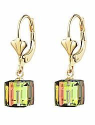 cheap -swarovski crystal cube drop leverback earrings for women 14k gold plated hypoallergenic dangle earring jewelry (rainbow)