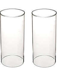 """cheap -clear candle holder glass chimney for candle glass cylinder open ended clear glass lamp shade open 3.5"""" height 8"""" (d3.7 h8 2 pack)"""