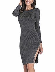 cheap -women crew neck knit bodycon split casual winter pencil dress black xl