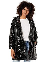 cheap -women's juniors vinyl shiny anorak jacket, black, 2x
