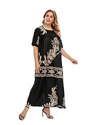 cheap -Women's Shift Dress Maxi long Dress - Half Sleeve Print Patchwork Print Fall Plus Size Casual Loose 2020 Black XL XXL 3XL 4XL