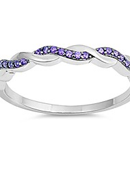cheap -simulated amethyst criss cross knot promise ring .925 sterling silver band size 6