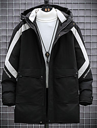 cheap -Men's Down Parka Solid Colored POLY Black / Army Green M / L / XL