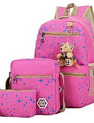 cheap -genius_baby girls' canvas backpack set 3 pieces patterned bookbag laptop school backpack (pink-1)