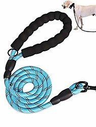 cheap -rope dog lead strong dog leads 5ft with heavy duty rope comfortable padded handle and reflective threads for training small medium large dogs (blue)