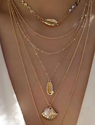 cheap -Women's Pendant Necklace Chain Necklace Stacking Stackable Friends Vertical / Gold bar Precious Joy Shell Dainty Elegant Fashion Punk Pearl Alloy Gold 40 cm Necklace Jewelry 1pc For Gift Engagement