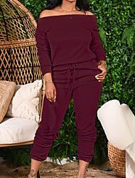cheap -Women's Plain Two Piece Set T-shirt Pant Drawstring Tops