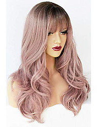 cheap -light purple wig with bangs lolita wigs lavender wig with bangs synthetic hair natural long straight wig for women for any occasion (22 inch)