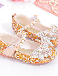 cheap -Girls' Flats Comfort Flower Girl Shoes Princess Shoes Faux Fur PU Little Kids(4-7ys) Daily Party & Evening Tennis Shoes Walking Shoes Bowknot Pearl Pink Gold Silver Fall Spring