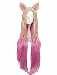 cheap -kda baddest ahri cosplay wigs lol kda cosplay blonde mixed pink wigs with ears heat resistant synthetic hair game