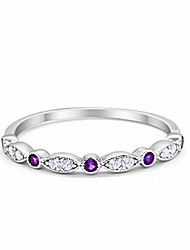 cheap -2mm half eternity wedding band art deco design round simulated amethyst cz cubic zirconia 925 sterling silver size-6