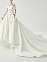 cheap -Ball Gown Wedding Dresses Off Shoulder Chapel Train Satin Sleeveless Formal Luxurious with 2021