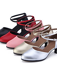 cheap -Women's Latin Shoes Jazz Shoes Modern Shoes Ballroom Shoes Heel Cuban Heel Black Red Pink Party Heels