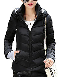 cheap -women's winter parka jacket warm hooded cotton quilted puffer down coat black