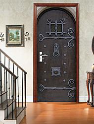 cheap -Retro Wooden Door Self-adhesive Creative Door Stickers For Living Room DIY Decorative Home Waterproof Wall Stickers