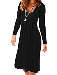 cheap -women's summer long sleeve loose print casual pleated cotton beach dresss black m