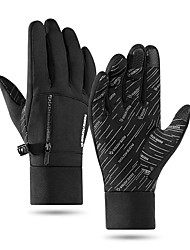 cheap -Winter Bike Gloves / Cycling Gloves Touch Gloves Anti-Slip Waterproof Windproof Warm Full Finger Gloves Sports Gloves Fleece Black for Adults' Outdoor Exercise Cycling / Bike