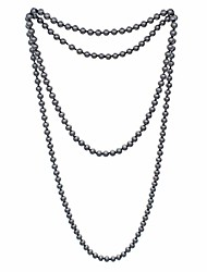 cheap -jnf big pearl necklace for women faux pearls choker bracelet and earrings pearl jewelry sets for wedding (long grey pearl necklace)