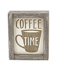 """cheap -small coffee time rustic wood framed tabletop sign, farmhouse distressed wood freestanding coffee sign, for coffee bar kitchen home decor, 5-7/8""""w x 2""""d x 4-7/8""""h"""