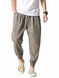 cheap -mens fashion athletic linen pants - lightweight trousers elasticated waist jogging pants gray