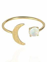 cheap -18k rose/white/yellow gold plated moon opal ring, white/green/pink opal ring, adjustable size (yellow gold)