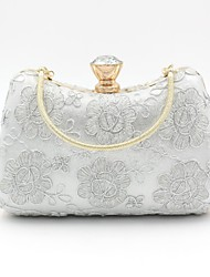 cheap -Women's Bags Polyester Alloy Evening Bag Crystals Flower Floral Print Rhinestone Wedding Bags Wedding Party White Black Gold