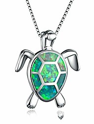 cheap -turtle pendant opal necklace rhinestone zircon clavicle chain women's jewellery gift accessories,green