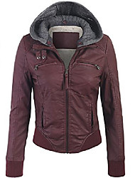 cheap -women's faux leather zip up fur lining jacket with knit hoodie-m-wine
