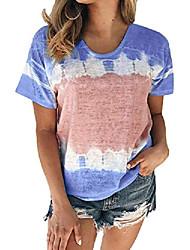 cheap -tie dye shirt women, colorblock tops, color block printed tshirts for women, summer casual t shirt plus size 2x xxl 2xl blue xx-large