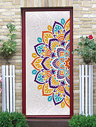cheap -2pcs Self-adhesive Creative Mandala Door Stickers For Living Room Diy Decorative Home Waterproof Wall Stickers