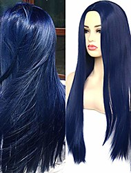 cheap -silky straight wigs dark blue trendy heat resistant synthetic wigs middle part for cosplay daily wear 22 inches(no lace wig)