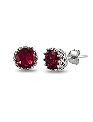 cheap -sterling silver created red ruby crown stud earrings