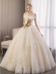 cheap -Ball Gown Wedding Dresses Off Shoulder Floor Length Lace Tulle Cap Sleeve Country Romantic with Appliques 2020